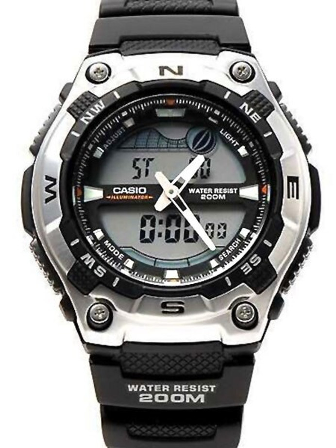 Casio Analog-Digital Sports Chrongraph Watch with Tide Graph, Moonphase #AQW100-1AV