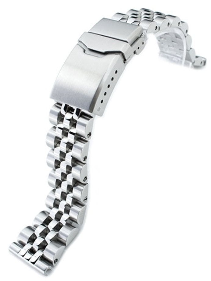 """Strapcode 20mm ANGUS-J """"Louis"""" 316L Stainless Steel Watch Bracelet 20mm Straight End, Brushed, Button Chamfer #SS201819B058S"""