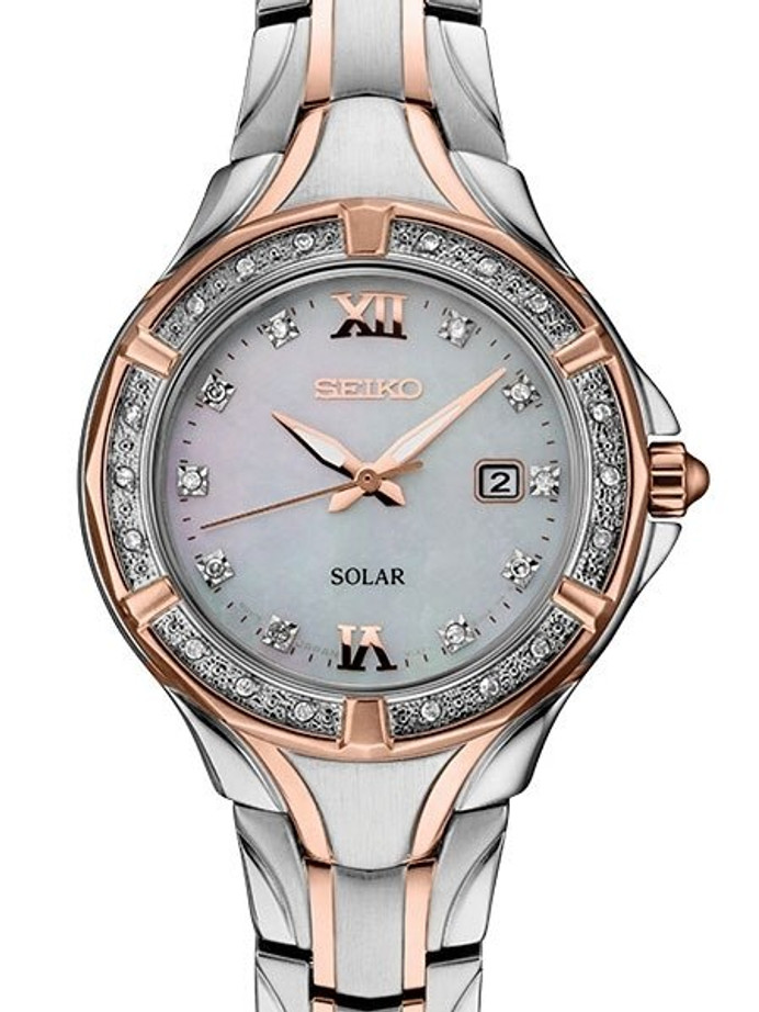 Seiko Women's Solar Dress Watch with 28 Diamonds and Mother of Pearl Dial #SUT374