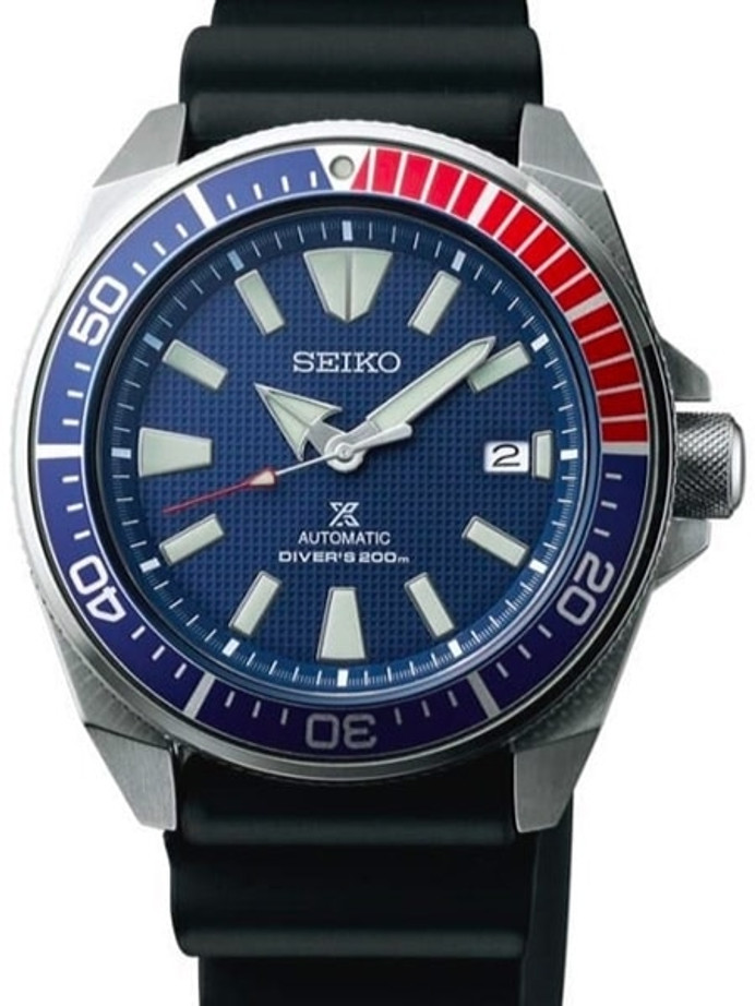 Seiko Samurai Prospex Automatic Dive Watch with Blue Dial and Rubber Dive Strap #SRPB53