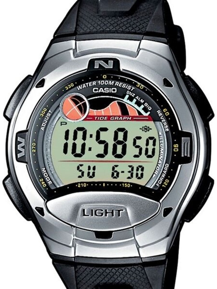 Casio Digital Sports Chrongraph Watch with Tide Graph, Moonphase #W-753-1AV
