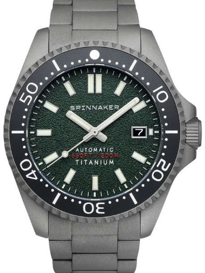 Spinnaker Tesei Titanium Automatic 200 Meter Dive Watch With Green Dial SP-5084-33