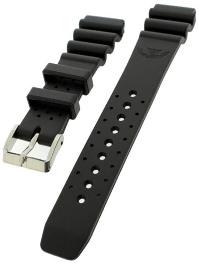 Squale 1521 OEM 20mm Black Natural Rubber Dive Watch Strap #1521-BK