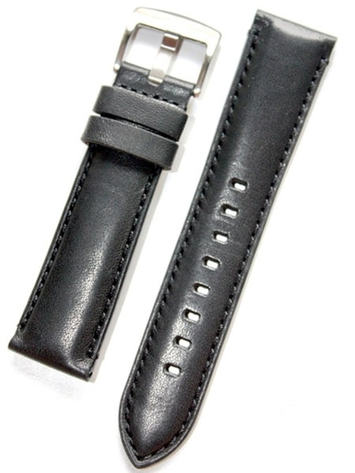Horween Black Calfskin Leather with Stainless Steel Buckle #INS-HOR-ESX01