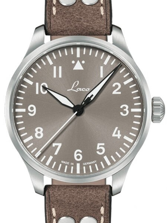 Laco 39mm Augsburg Taupe Automatic Pilot Watch with Sapphire Crystal #862125