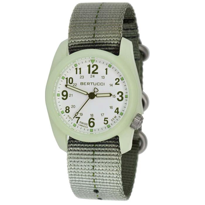 Bertucci DX3 Luminous Resin Watch, Olive Green Nylon Strap, White Dial - 11028