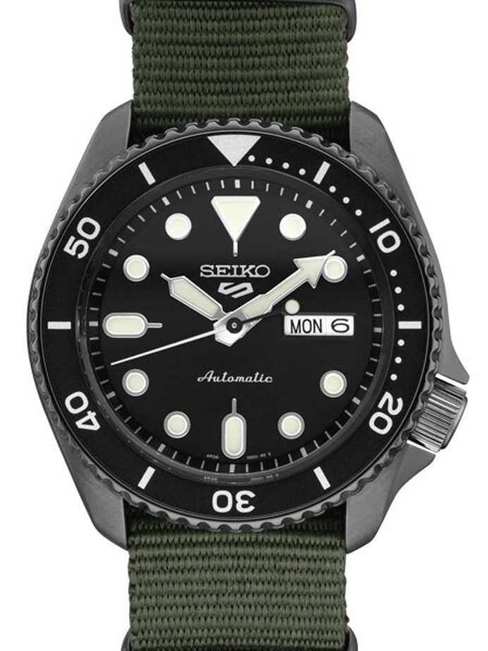 Seiko 5 Sports 24-Jewel Automatic Watch with Textured Black Dial and Nylon Strap #SRPD91