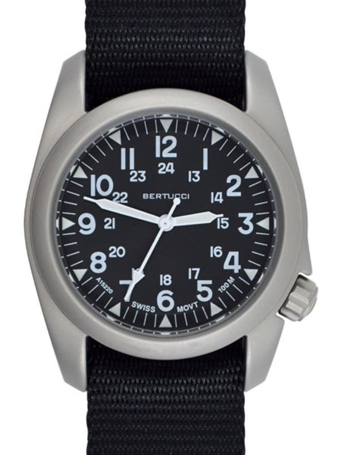 Bertucci A-2S Vintage with Swiss Movement, Black Dial, 40mm Stainless Steel Case #11500