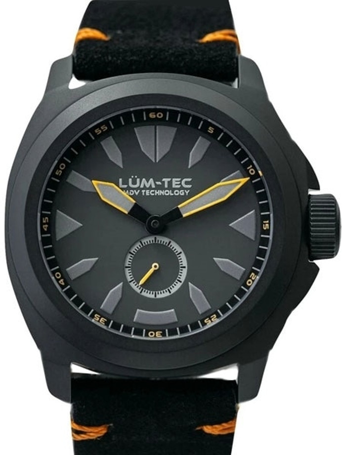 Lum-Tec Phantom 44mm Watch with Titanium Carbide Black PVD Case, AR Sapphire Crystal #M86