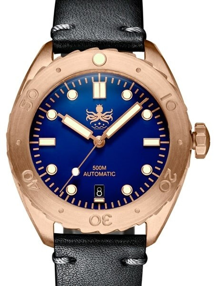 PHOIBOS Eagle Ray 500-Meter Swiss Automatic Dive Watch with Bronze Case, DD AR Sapphire Crystal #PY018B