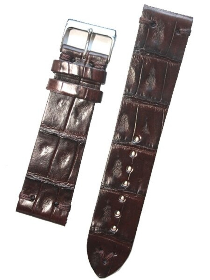 Handmade Italian Vintage Style Brown Center Cut Crocodile, Tacking-Stitching #GR-VIN02