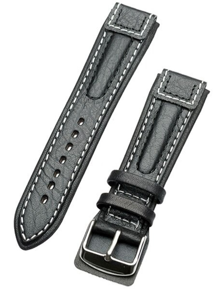 Chronissimo-Style Black Leather Strap with Heavy Padding #DM-30