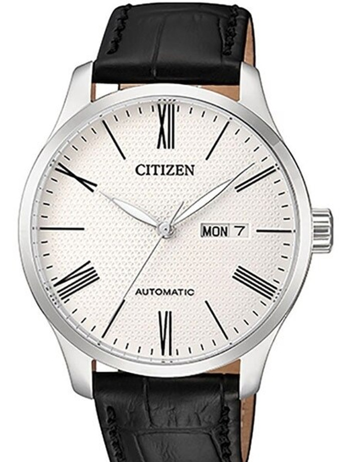Citizen Automatic White Dial Watch with Black Leather Strap #NH8350-08A