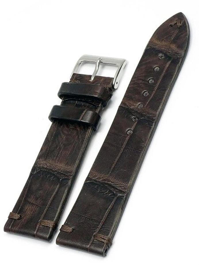 Handmade Italian Vintage Style Brown Crocodile with Hand-Stitching #ML-900-VIN02