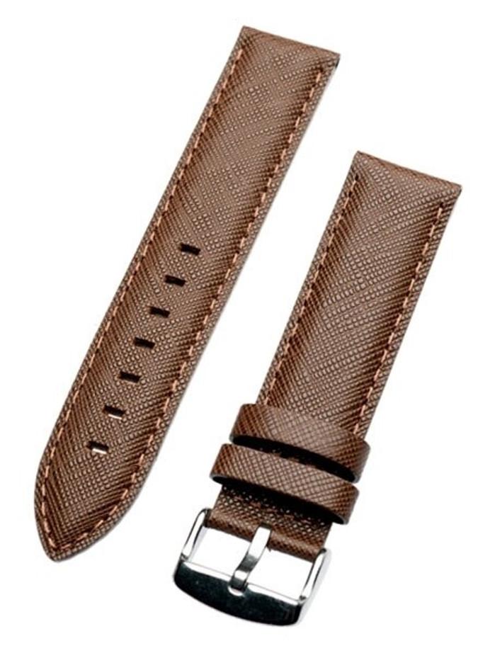 Toscana Saffian Brown Leather Strap with Unique Cross-Hatch Texture #SAF-80
