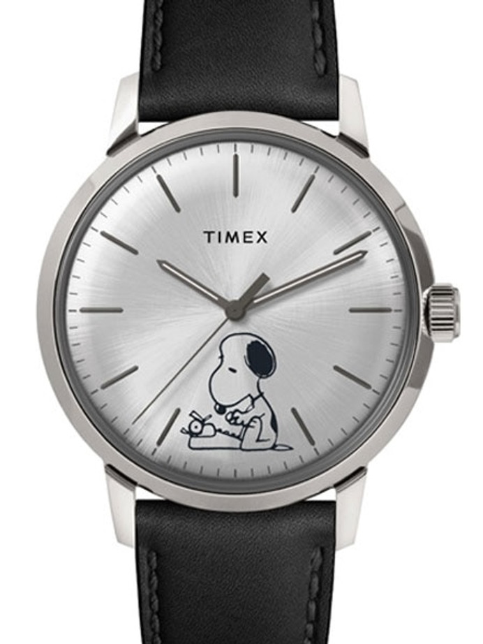 Timex 40mm Marlin 21-Jewel Automatic Watch with Silver Snoopy Dial #TW2U71200ZV