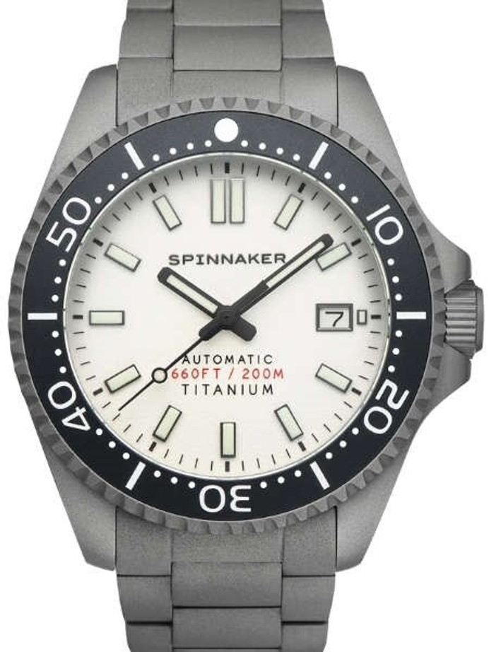 Spinnaker Tesei Titanium Automatic 200 Meter Dive Watch With White Dial SP-5084-22