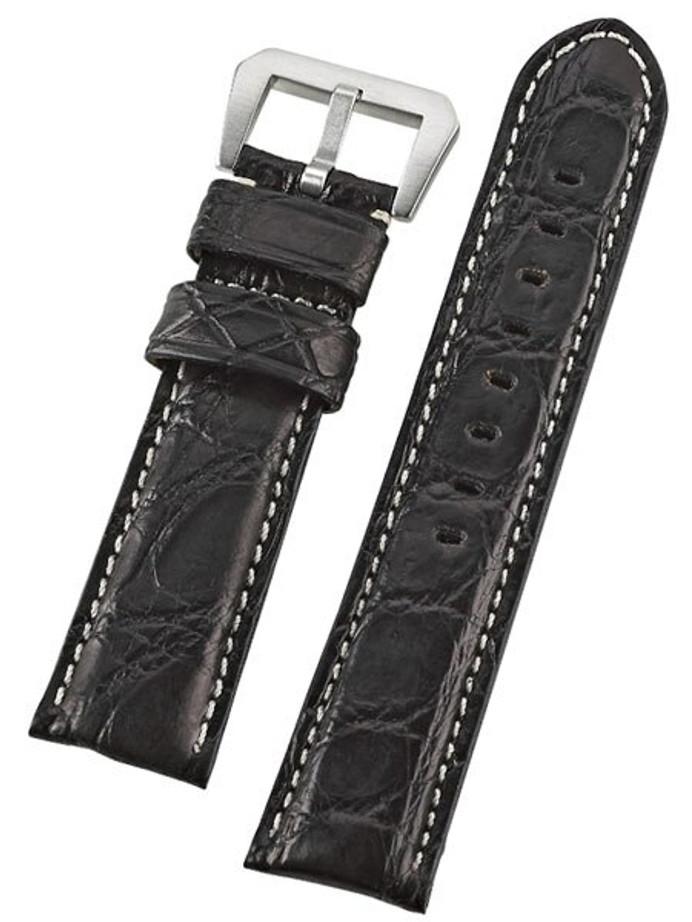 Toscana Black Genuine Cayman Crocodile Watch Strap with Leather Lining #GR-90001