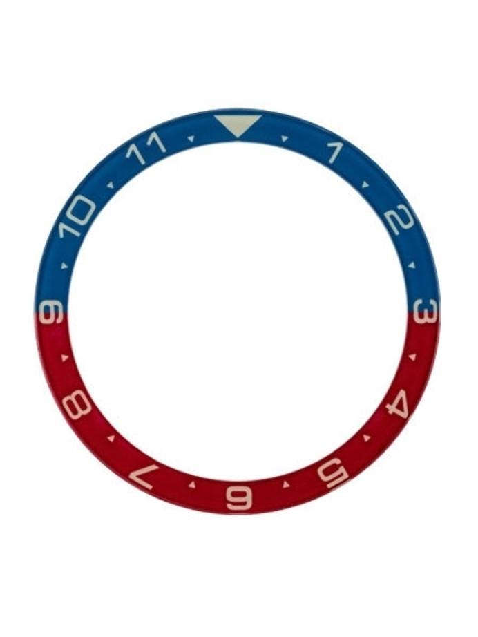 Dual-Time Blue-Red Luminous Sapphire Bezel Insert for Seiko SKX007, SKX009, SKX011 #C28