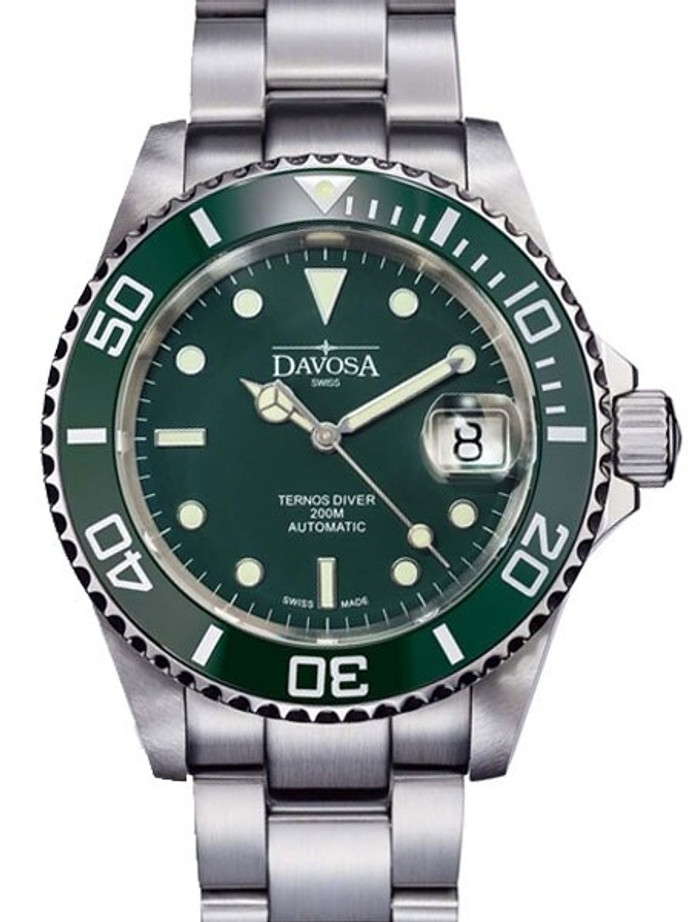 Davosa Ternos Swiss Automatic 200 Meter Dive Watch with Green Dial #16155570