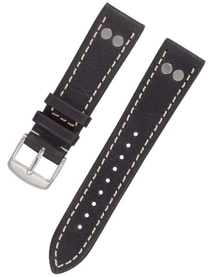 Laco WWII-Style Leather Pilot Strap with Rivets and Easy Breather Construction #Laco-BK