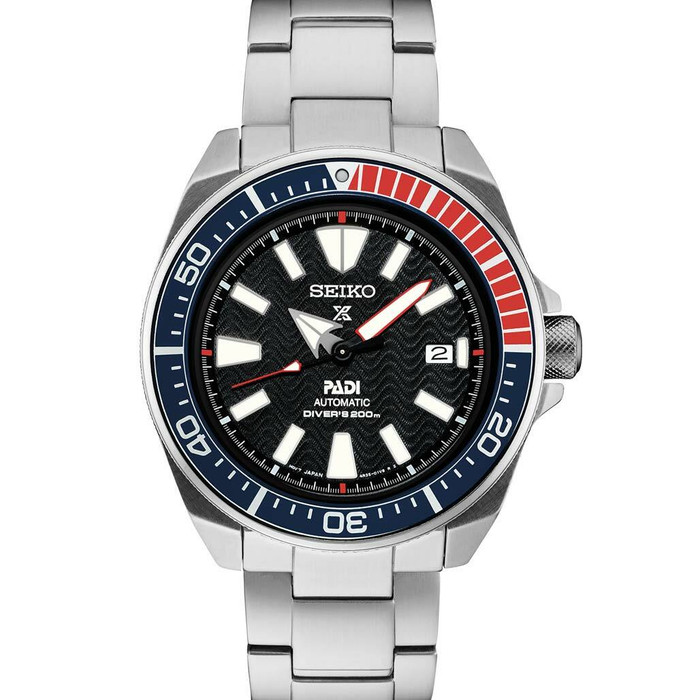 Seiko Samurai Prospex PADI Automatic Dive Watch with Stainless Steel Bracelet #SRPF09