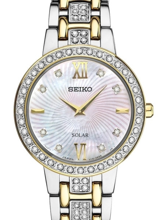 Seiko Ladies Solar Dress Watch with Swarovski Crystals, Mother of Pearl Dial #SUP360
