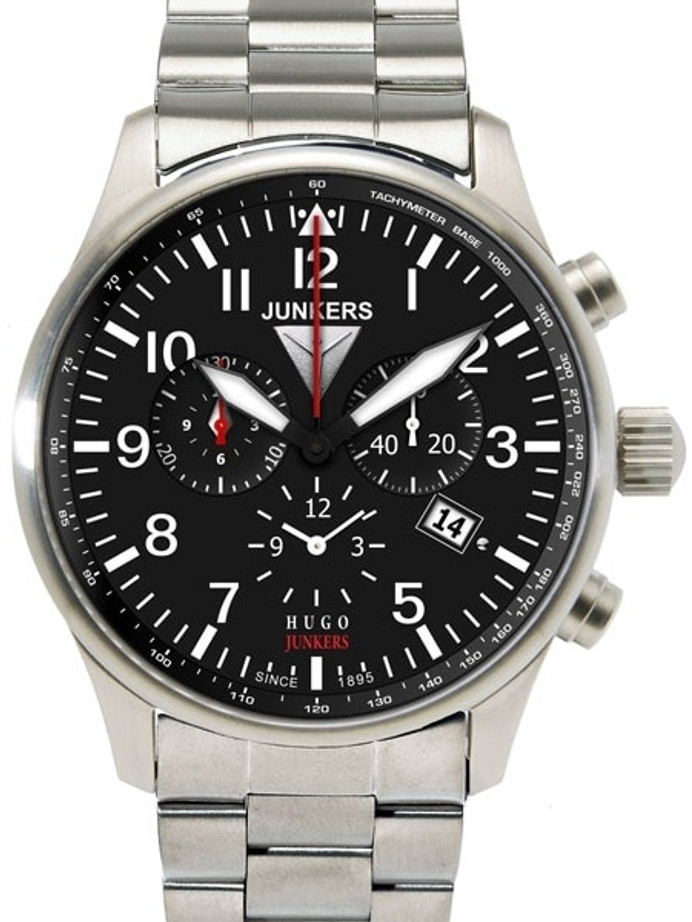Junkers 150 Years Hugo Junkers Chronograph Alarm Watch with Bracelet #6684M-2