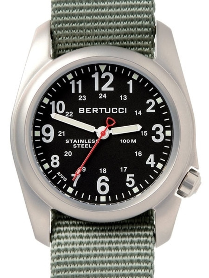 Bertucci A-2S Black Dial, 40mm Stainless Steel Watch with Defender Drab Nylon Strap #11051