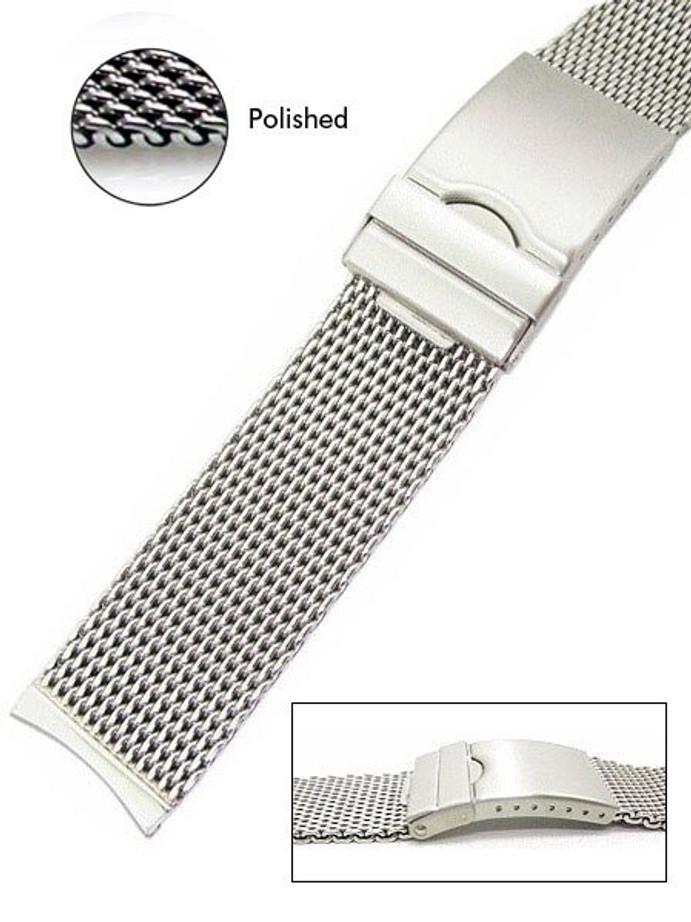 Vollmer Polished Mesh Bracelet #99462H4C (Curved End, 22mm)