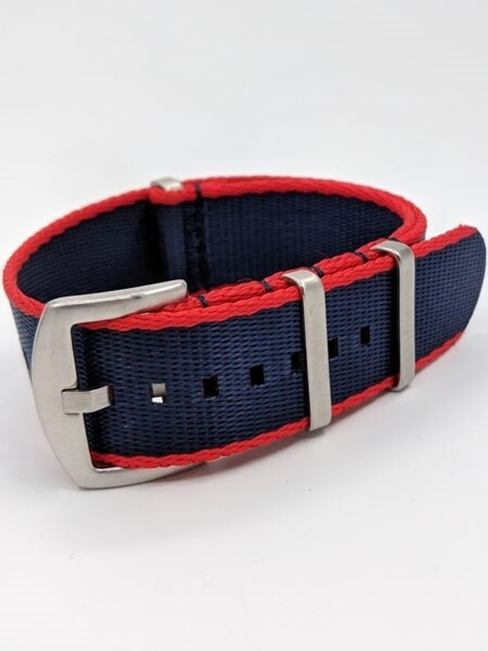 NATO-Style Navy Blue and Red Seat Belt Weave Nylon Strap with Stainless Steel Buckle  #SB-05-SS