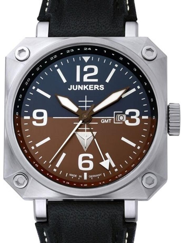 Junkers Horizon Airplane Cockpit Series Swiss Quartz GMT Pilot Watch #6740-4