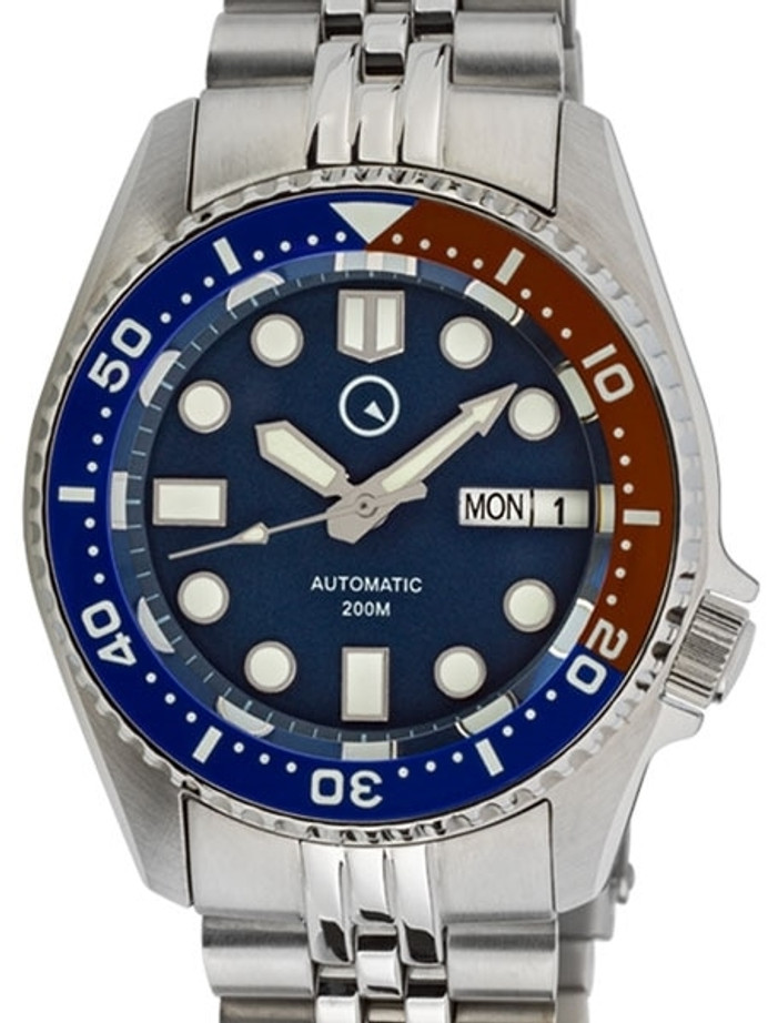 Islander 38mm Automatic Dive Watch with Solid-Link Bracelet, AR Sapphire Crystal, and Luminous Ceramic Bezel Insert #ISL-06