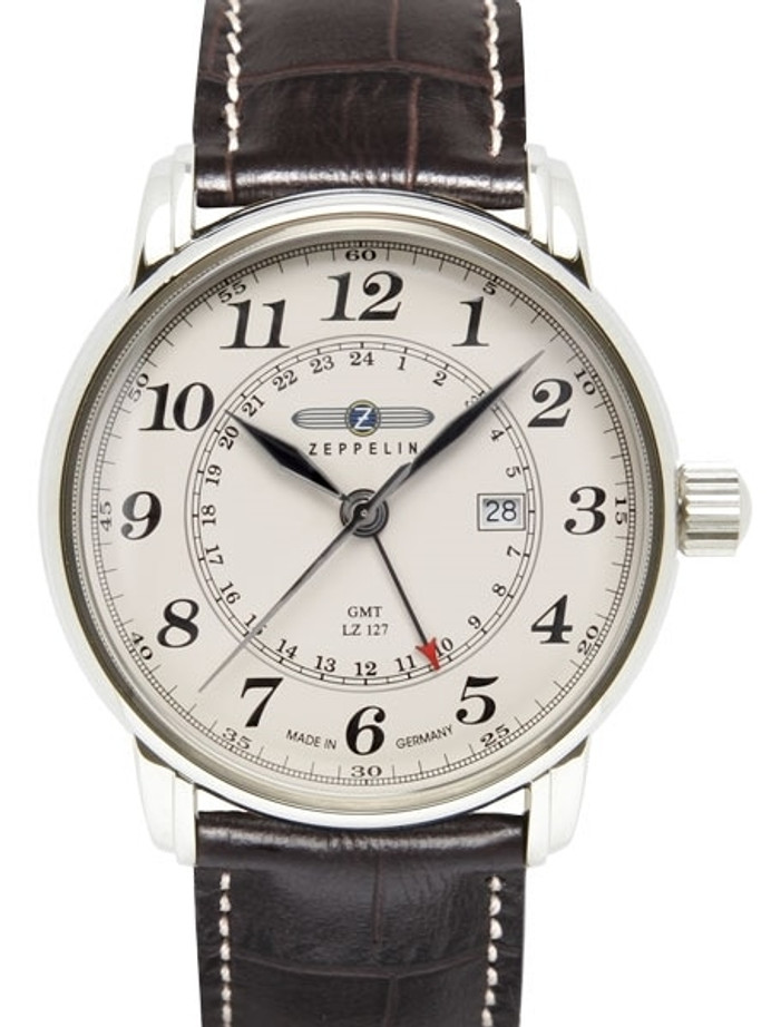 Graf Zeppelin Dual Time, GMT Watch with Red Tipped 24-hr Hand. #7642-5