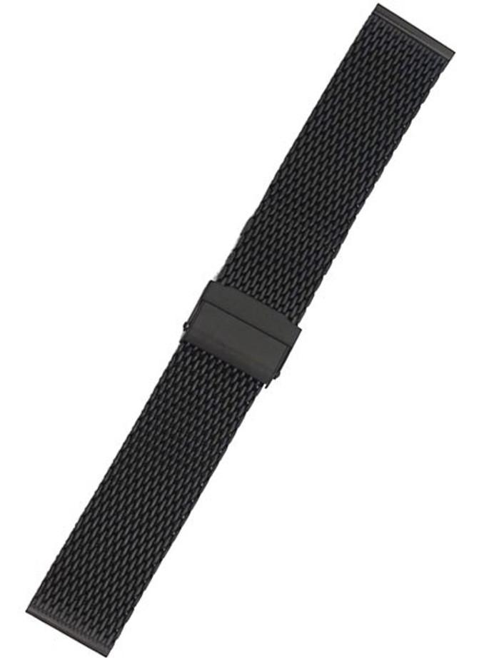 STAIB Polished Finish Black IP Milanaise Mesh Bracelet #ST-BK-2906-20814SBL (Straight End, 22mm)