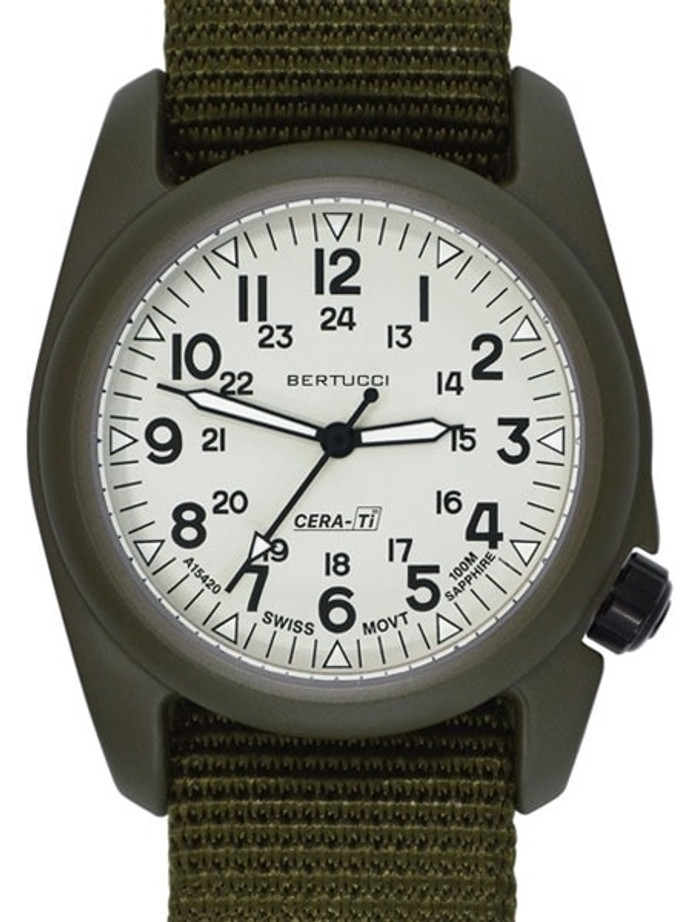 Bertucci A-2CT Cera-Ti™ Ceramic Coated Titanium Field Watch with Swiss Quartz Movement #12135
