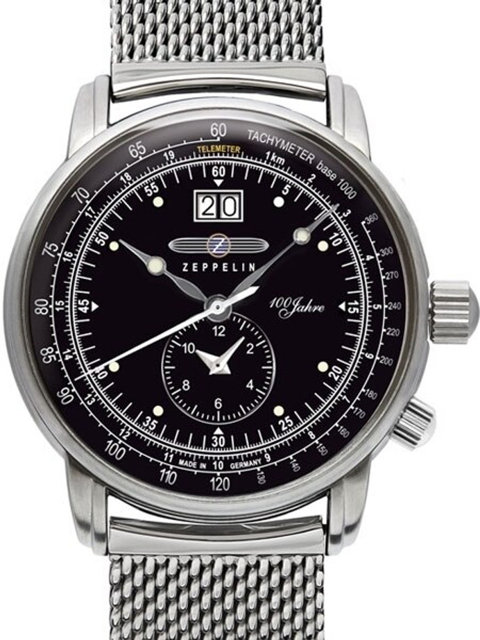 Graf Zeppelin German Made, Big Date, Dual Time Watch with Mesh Bracelet. #7640M-2