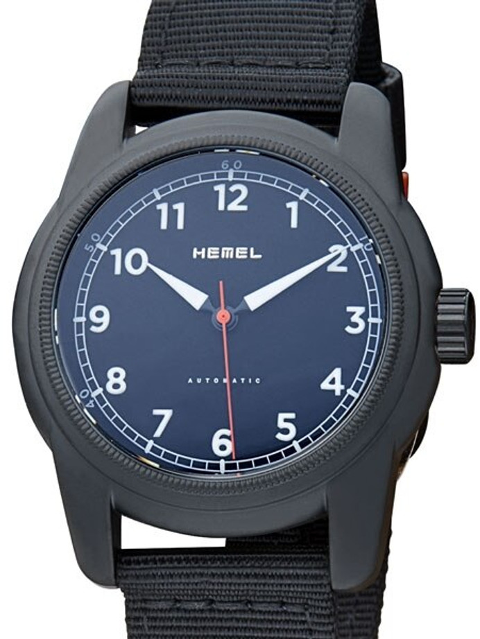 HEMEL Automatic Military-Styled Watch Black Ion-Plated Case and Sapphire Crystal #HMNO2