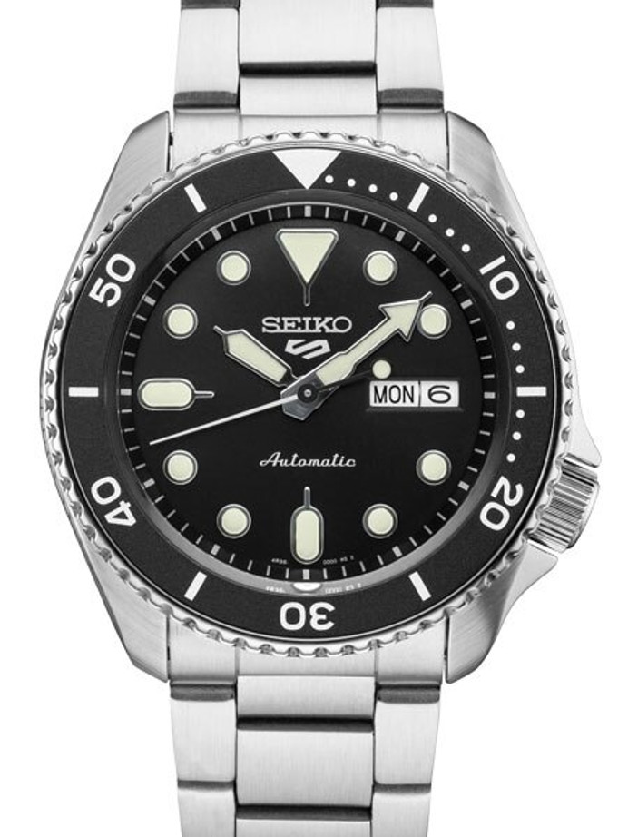 Seiko 5 Sports 24-Jewel Automatic Watch with Black Dial and SS Bracelet #SRPD55