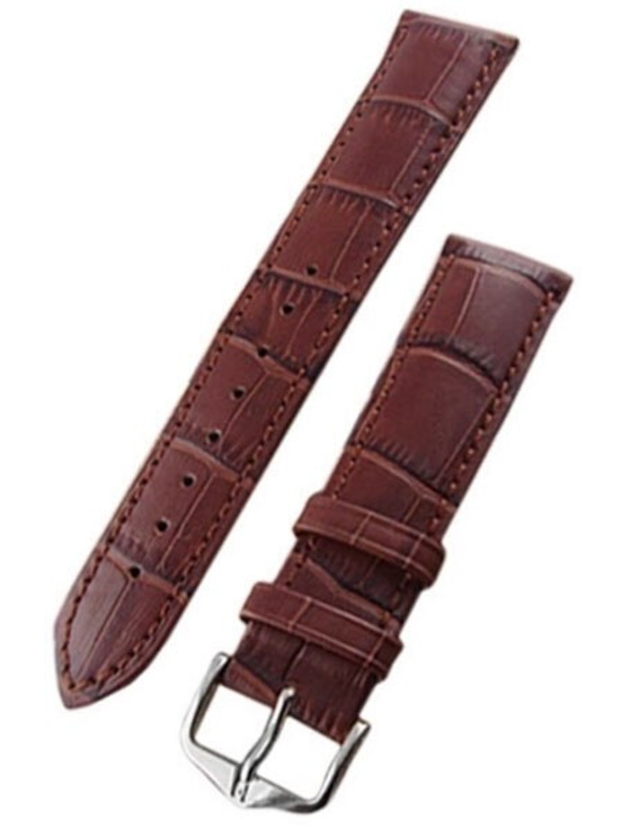Hirsch Extra-Long Duke Brown Alligator Embossed Natural Leather Watch Strap #010282-10
