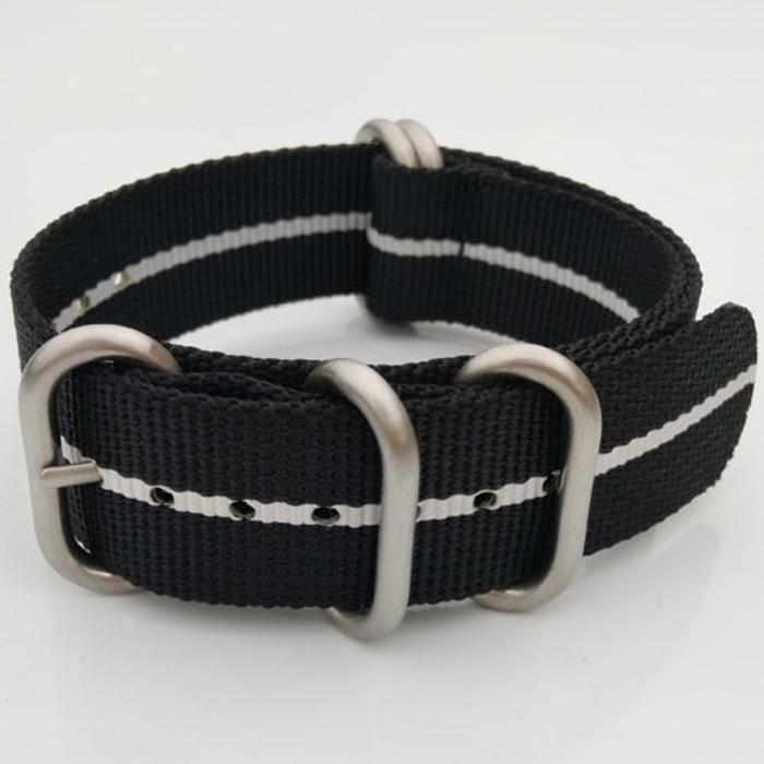 5-Ring NATO-Style Black, White Stripe Nylon Strap with Matte Finish Steel Buckle #NATO5R-25-SS