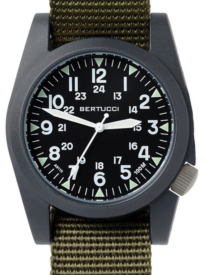 Bertucci A-3P Sportsman Vintage Field Watch with a 42mm Black Poly-Carbonate Case - 13351