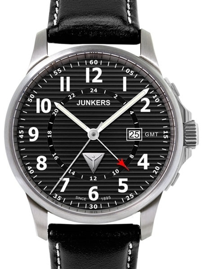 Scratch and Dent - Junkers Tante JU Series GMT Watch with Corrugated Black Dial #6848-2