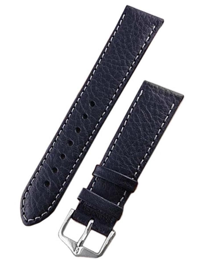 Hirsch Forest Black Soft Calf Leather Watch Strap, Contrast Stitching #179202-50