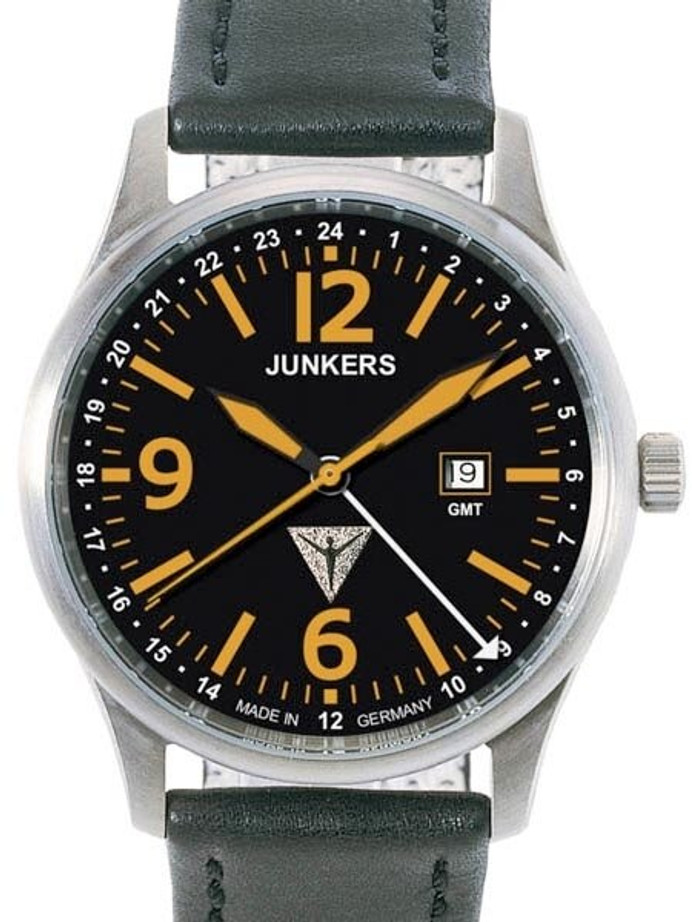 Junkers G-38 Aviator GMT Titanium Watch with Orange Hands and Numbers #6278-5