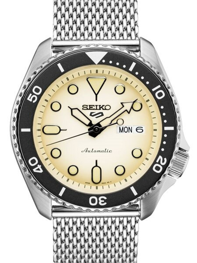 Seiko 5 Sports 24-Jewel Automatic Watch with Biege Dial and Mesh Bracelet #SRPD67