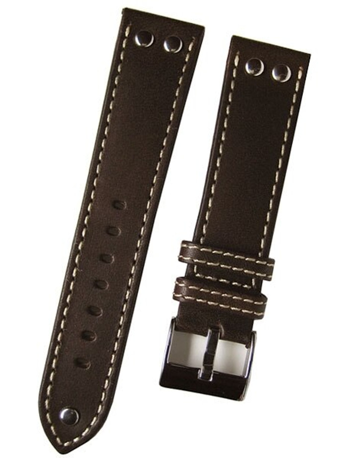 Aviator Style Brown Leather Strap with Rivets and Contrast Stitching #EBV-ST-22780