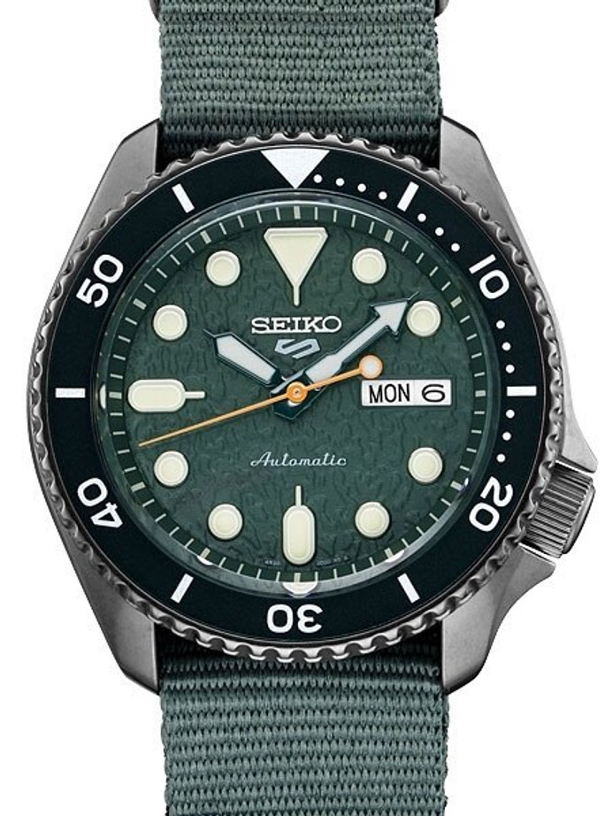 Seiko 5 Sports 24-Jewel Automatic Watch with Textured Green Dial and Nylon Strap #SRPD77