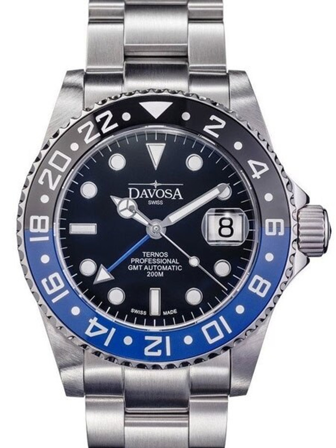 "Davosa Ternos Swiss Automatic 200 Meter GMT Dual-Time Watch with ""Batman"" Ceramic Bezel #16157145"