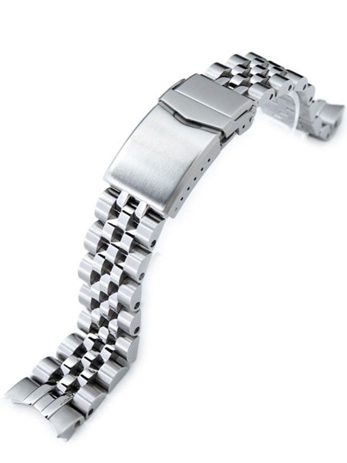 """Strapcode 20mm ANGUS-J """"Louis"""" 316L Stainless Steel Watch Bracelet for Seiko SARB033, Brushed, V-Clasp #SS201820B067"""